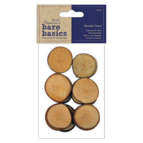 16 x Papermania Bare Basics Natural Wooden Discs 28mm Making Scrapbooking Crafts