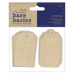 12 x Papermania Bare Basics Wooden Tags 2 Different Designs Scrapbooking Crafts