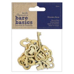 12 x Papermania Bare Basics Wooden Keys 7.5cm Card Making Scrapbooking Crafts