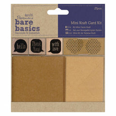 Papermania Bare Basics Stickers Card Envelopes Wooden Stamp Kraft Card Kit 27pcs