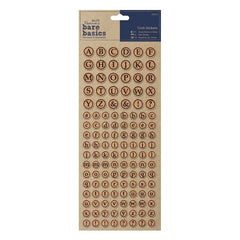 Papermania Bare Basics Cork Alphabet Circles Stickers Scrapbooking Crafts x 126