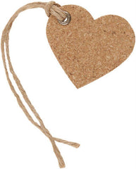 6 x Papermania Bare Basics Heart Cork Gift Eyelet Tags With String Scrapbooking Crafts