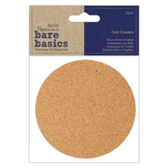10 x Papermania Bare Basics Cork Coasters Round Shaped Brown 10cm Decoration Crafts