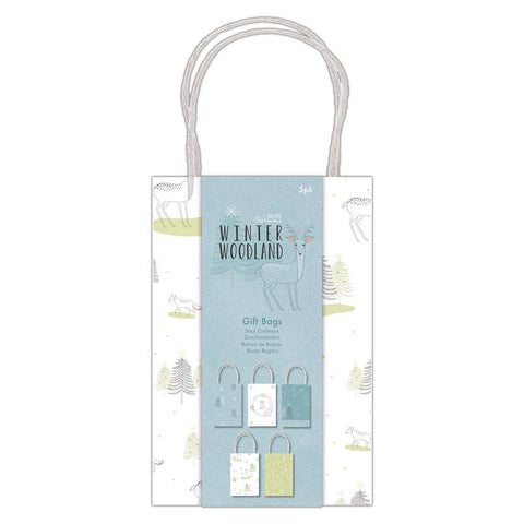 5 x Papermania Winter Woodland Printed Gift Bags Assorted Designs 12cm x 18cm