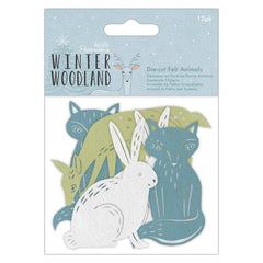 12 x Papermania Winter Woodland Felt Die Cut Animals Assorted Design Card Making Crafts