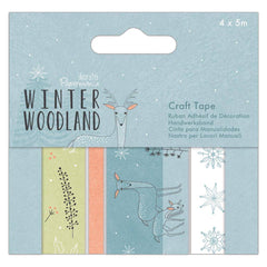 4 x Papermania Winter Woodland Patterned Craft 5m Tapes Card Making Scrapbooking Crafts
