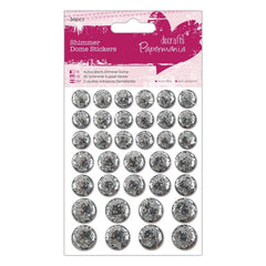 36 x Papermania Silver Shimmer Dome Stickers Scrapbooking Embellishments Crafts