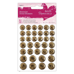 36 x Papermania Gold Shimmer Dome Stickers Scrapbooking Embellishments Crafts