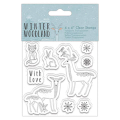 9 x Papermania Winter Woodland Clear Stamp Animals Card Making Scrapbooking Crafts