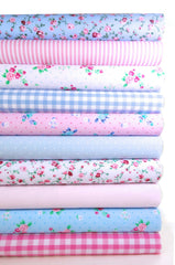 Fabric Bundles Fat Quarters Polycotton Material Florals Gingham Spots Craft - PINK BLUE