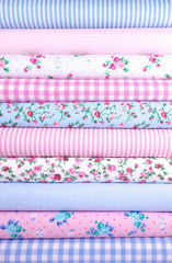 Fabric Bundles Fat Quarters Polycotton Material Flowers Gingham Spots Craft - PINK BLUE