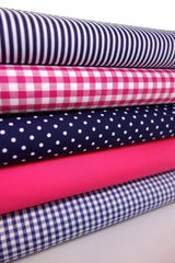 Fabric Bundles Fat Quarters Polycotton Material Gingham Spots Craft - NAVY CERISE