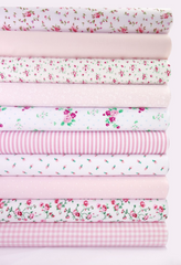 Fabric Bundles Fat Quarters Polycotton Material Flowers Gingham Spots Craft - PINK