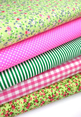 Fabric Bundles Fat Quarters Polycotton Material Florals Gingham Spots Craft - PINK LIME
