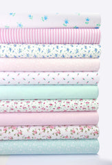 Fabric Bundles Fat Quarters Polycotton Material Flowers Stripes Spots Craft - PINK TURQUOISE