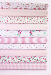 Fabric Bundles Fat Quarters Polycotton Material Vintage Florals Gingham Craft - Pink