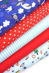 Fabric Bundles Fat Quarters Polycotton Material Pirates Spots Stripes Children Craft