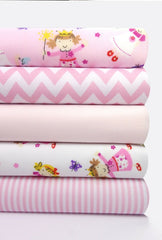 Fabric Bundles Fat Quarters Polycotton Material Princesses Pink White Children Craft