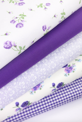 Fabric Bundles Fat Quarters Polycotton Material Vintage Florals Gingham Craft - Purple