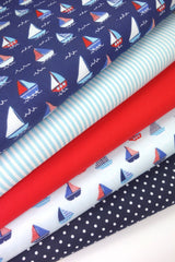 Fabric Bundles Fat Quarters Polycotton Material Sailing Boats Spots Plain Children Craft