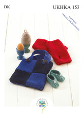 Double Knitting Pattern Egg Cosy Wrist Warmers Baby Shoes Bag - Hobby & Crafts