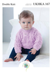 Double Knitting Pattern Purple Lace Detail Jumper 0 To 2 years 31-56 cm 12-22 inches - Hobby & Crafts