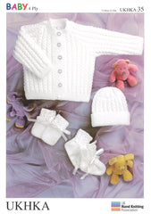 4 Ply Knitting Pattern Jacket Hat Mittens Booties 0 - 2 Years 31-56 cm 12-22 inches - Hobby & Crafts