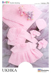 Double Knitting Pattern Shawl Dress Hat Mittens Booties 0 To 1 years 31-51 cm 12-20 inches - Hobby & Crafts