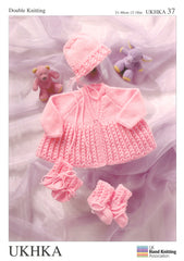 Double Knitting Pattern Matinee Coat Bonnet Booties Mittens 0 To 2 years 31-46 cm 12-18 inches - Hobby & Crafts