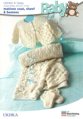 Double Knitting Pattern Matinee Coat Shawl Booties 0 To 1 years 36-41 cm 14-16 inches - Hobby & Crafts