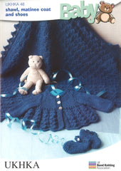 Knitting Pattern Shawl Matinee Coat Shoes 0 to 1 Years 36-46 cm 14-18 inches - Hobby & Crafts