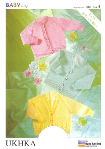 3 x 4 Ply Knitting Pattern Cardigans 0 - 2 Years 31-56 cm 12-22 inches - Hobby & Crafts