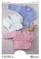 3 X Double Knitting Pattern Cardigans 0 To 6 years 41-66 cm 16-26 inches - Hobby & Crafts
