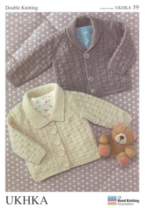 2 X Double Knitting Pattern Cardigans 0 To 6 years 41-66 cm 16-26 inches - Hobby & Crafts