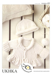 Double Knitting Pattern Ribbed Cardigan Hat 0 to 4 Years 41-61 cm 16- 24 inches - Hobby & Crafts