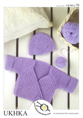 Knitting Pattern Wrap Cardigan Hat 0 to 4 Years 41-61 cm 16- 24 inches - Hobby & Crafts