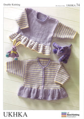 Double Knitting Pattern Frill Sweater Cardigans 0 To 4 years 30.5-61 cm 12-24 inches - Hobby & Crafts