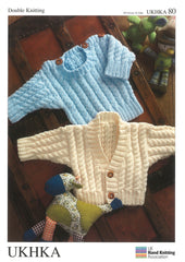Double Knitting Pattern Sweater Cardigans 0 To 4 years 35.5-61 cm 14-24 inches - Hobby & Crafts
