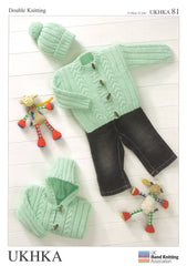 Double Knitting Pattern Jackets Hat 0 To 2 years 31-56 cm 12-22 inches - Hobby & Crafts