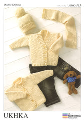 Double Knitting Pattern Cardigans Hat Scarf 0 To 2 years 36-56 cm 14-22 inches - Hobby & Crafts