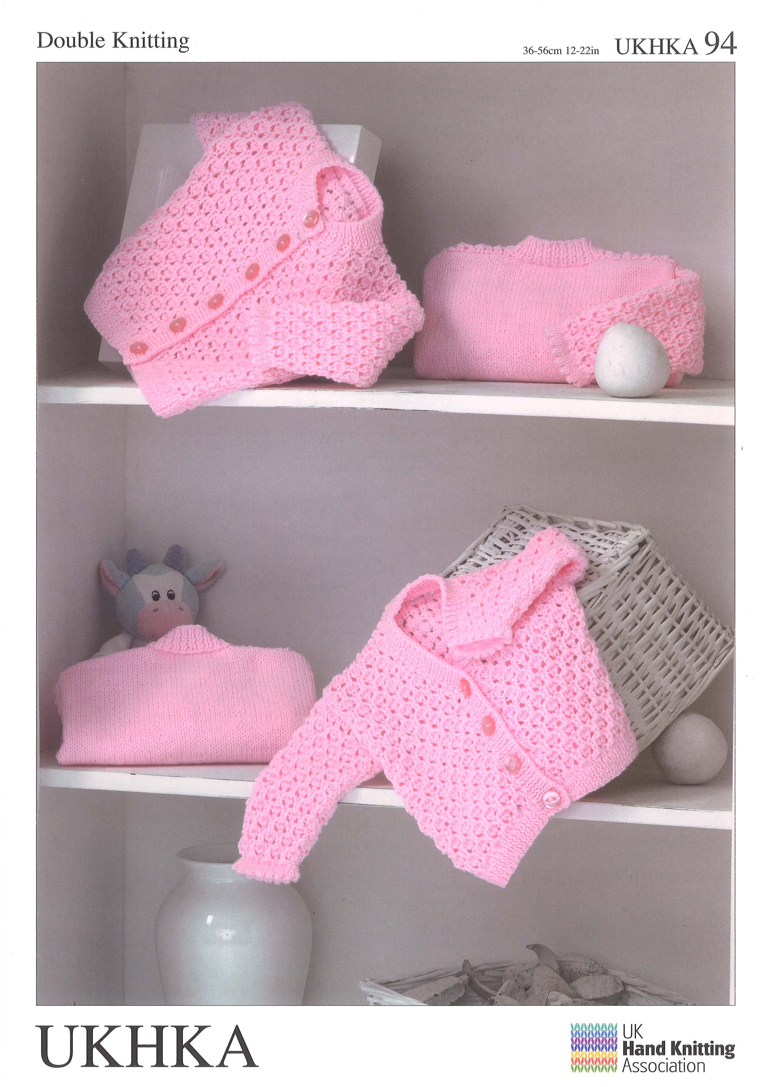 3045e6ce7 Double Knitting Pattern Cardigans 0 To 2 years 36-56 cm 14-22 inches ...