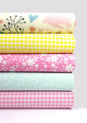 Fabric Bundles Fat Quarters Polycotton Material Woodland Bunnies Gingham Florals Children Craft