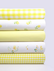 Fabric Bundles Fat Quarters Polycotton Material Florals Gingham Plain Craft - YELLOW
