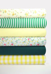 Fabric Bundles Fat Quarters Polycotton Material Florals Gingham Craft - YELLOW GREEN