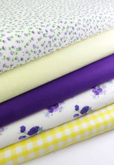 Fabric Bundles Fat Quarters Polycotton Material Vintage Florals Gingham Craft - Yellow Purple