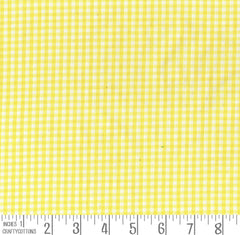 "Yellow Gingham Polycotton 1/8"" Checked Fabric Select Size 112cm Wide"
