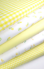Fabric Bundles Fat Quarters Polycotton Material Vintage Florals Gingham Craft - Yellow