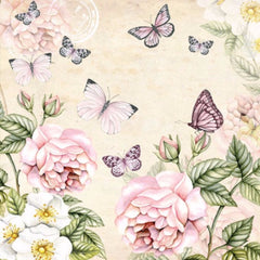 5 Napkins Botanical Butterflies Cream 33 x 33 cm Tissue Decoupage Paper Party Craft - Hobby & Crafts