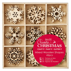 45 x Papermania Small Mixed Snowflakes Shapes Wooden Embellishments Decoration Crafts