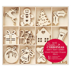 48 x Papermania Large Christmas Icons Shapes Wooden Embellishments Decoration Crafts
